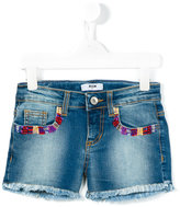 MSGM beaded pockets denim shorts - kids - Cotton/Elastodiene - 4 yrs