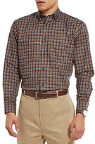 Daniel Cremieux Signature Non-Iron Plaid Royal Oxford Long-Sleeve Woven Shirt