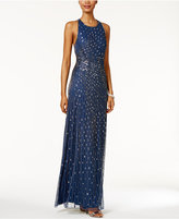 Adrianna Papell Sequined Open-Back Halter Gown