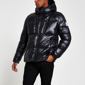 River Island Mens Black double zip pocket puffer jacket