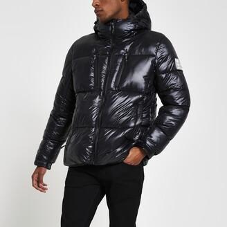 River Island Mens Black long sleeve puffer coat