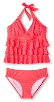 Circo Girls' Plus 2-Piece Crochet Tankini Guava Berry