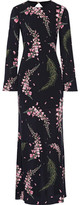 Rachel Zoe Open-back Floral-print Silk-georgette Gown - Black