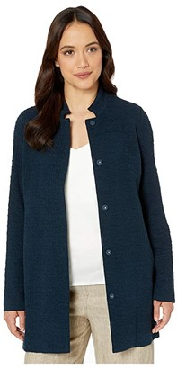 Eileen Fisher Petite Organic Cotton Tencel Pucker Stand Collar Long Jacket (Storm) Women's Clothing