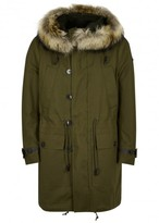 Valentino Army Green Fur-trimmed Cotton Parka