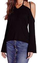 WINSON Women Off Shoulder Long Sleeve Halter Neck T-Shirt Blouses Tops Xs-Xxl