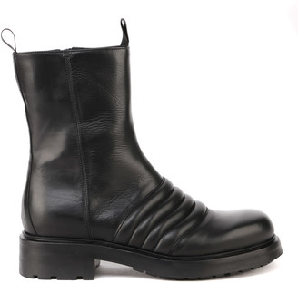 Elena Iachi Smooth Leather Combat Boots With Quilted Details