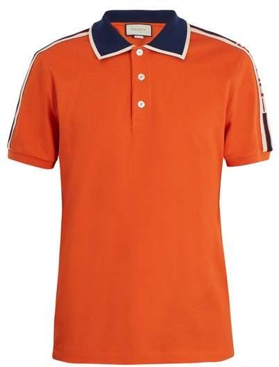 Gucci Web Collar Polo Shirt - Mens - Orange