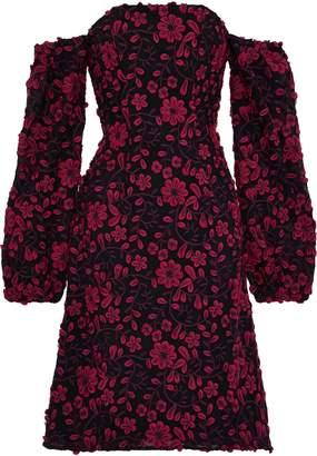 Zac Posen Caro Off-the-shoulder Floral-appliqued Mesh Dress