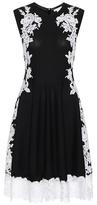Oscar de la Renta Knitted merino wool dress with lace
