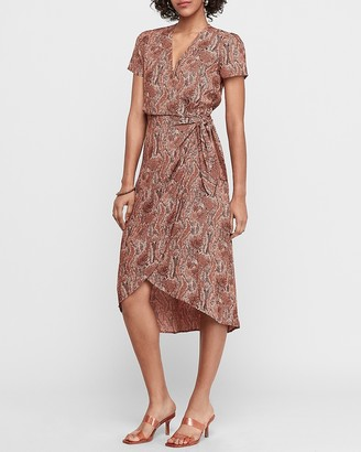 Express Snakeskin Print Wrap Tie Midi Dress