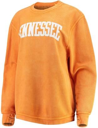 Women's Pressbox Tennessee Orange Tennessee Volunteers Comfy Cord Vintage Wash Basic Arch Pullover Sweatshirt