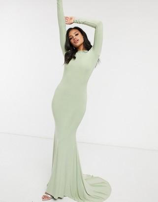 Club L London open back fishtail maxi dress in sage green