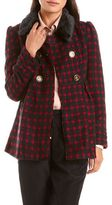 Charlotte Russe Fur Collar Double Breasted Coat