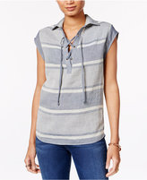 Tommy Hilfiger Striped Lace-Up Top, Only at Macy's