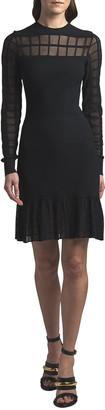 Alexander McQueen Crewneck Windowpane Mesh Short Dress
