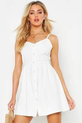 boohoo Button Front Strappy Denim Dress