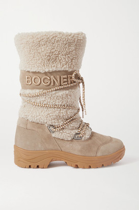 Bogner Alta Badia Embroidered Suede And Shearling Snow Boots - Gray