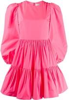Valentino puff sleeves ruffled mini dress