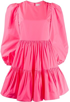 Valentino Puff Sleeves Ruffled Mini Dress