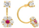 FreshTrends Daisy Cubic Zirconia Flower 14K Yellow Gold Open Hoop Earrings