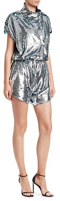 Carolina Ritzler Short Sleeve Sequin Romper