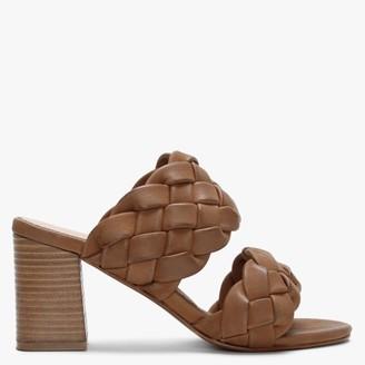 Daniel Sanza Tan Leather Chunky Woven Block Heel Mules