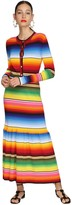Carolina Herrera RAINBOW STRIPED RIB KNIT MIDI DRESS
