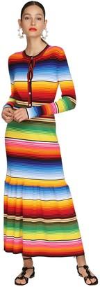 Carolina Herrera Rainbow Striped Rib Knit Midi Dress