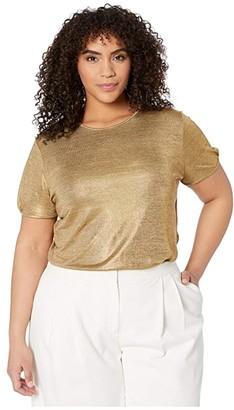 Lauren Ralph Lauren Plus Size Metallic Tee (Gold) Women's Clothing