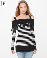 White House Black Market Petite Cold-Shoulder Stripe Fringe Tunic Sweater