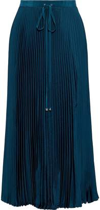 Tibi Mendini Pleated Satin-twill Midi Skirt