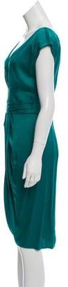 Lela Rose Silk Midi Dress Green