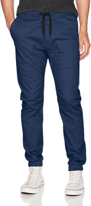 WT02 Men's Jogger Pants in Basic Solid Colors and Stretch Twill Fabric Navy(New) 2X-Large