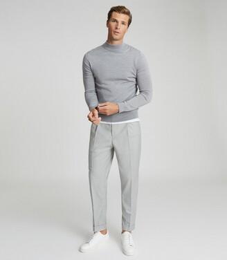 Reiss Kelby - Merino Wool Turtleneck in Light Grey Melange