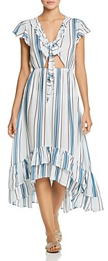 Surf.Gypsy Striped Tie-Front Ruffle Maxi Dress Swim Cover-Up