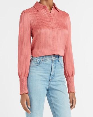 Express Textured Smocked Cuff Portofino Shirt