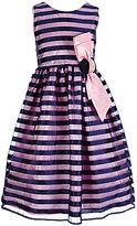 Jayne Copeland Big Girls 7-12 Striped Floral-Applique Dress