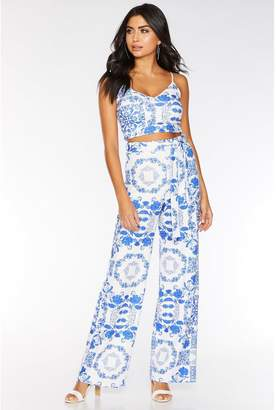 Quiz Royal Blue and White Tile Print Palazzo Trousers