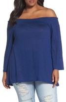Plus Size Women's Caslon Off The Shoulder Slub Linen Top