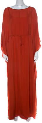 Tory Burch Orange Silk Blaze Maxi Kaftan Dress S