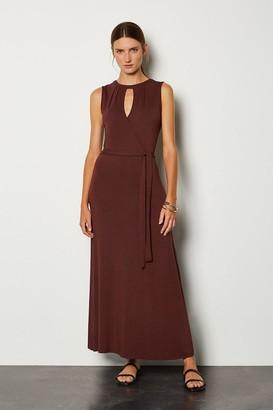 Karen Millen Wrap Front Tie Waist Jersey Dress