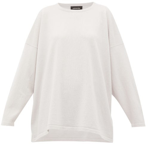 eskandar Oversized Bateau-neck Cashmere Sweater - Light Grey