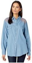 Wrangler Boyfriend Western Shirt Snap (Denim Blue) Women's Clothing
