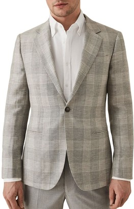 Reiss Austin Check Print Peak Collar Single Button Jacket