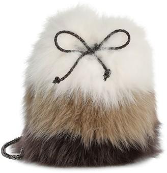 The Fur Salon Fox Fur & Rabbit Fur Drawstring Bucket Bag