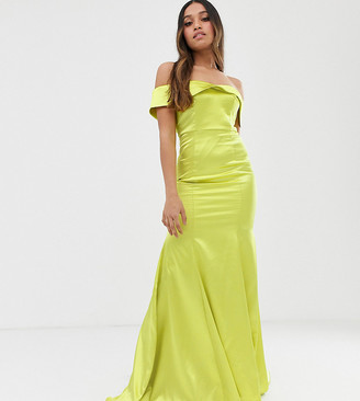 Dolly & Delicious Petite off shoulder fishtail maxi dress in neon lime