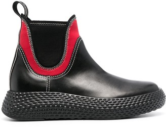 Emporio Armani Neoprene-Trimmed Ankle Boots
