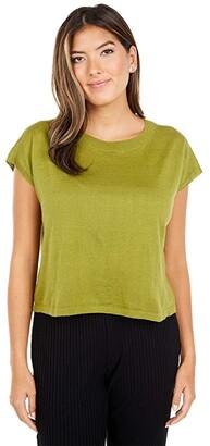 Eileen Fisher Petite Organic Linen Cotton Round Neck Short Sleeve Box Top (Mustard Green) Women's Clothing
