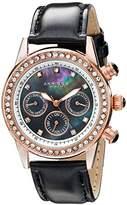 Akribos XXIV Women's AK556BKR Dazzling Rose-tone Swiss Multifunction Black Strap Watch
